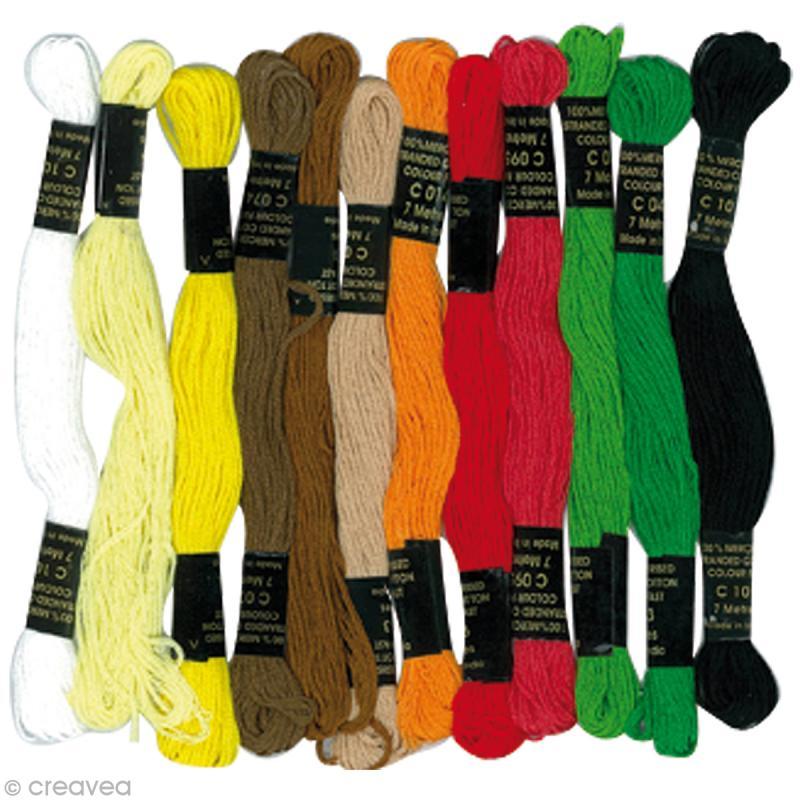fil pour bracelet br silien ethnique x12 fil coton creavea. Black Bedroom Furniture Sets. Home Design Ideas