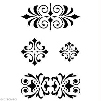 Pochoir adhésif pour customisation Galons baroques