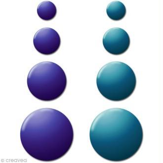Motif strass thermocollant Rond en métal Duo Bleu x 176