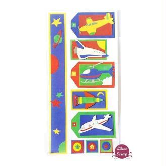 Stickers en vélin avions, hélicoptères Pebbles Inc 31 x 15 cm scrapbooking