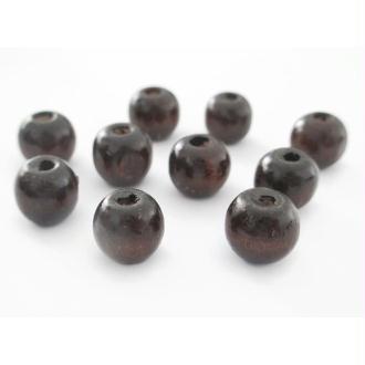 10 Perles En Bois Marron 10mm