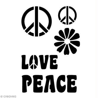 Pochoir adhésif pour customisation Peace & love
