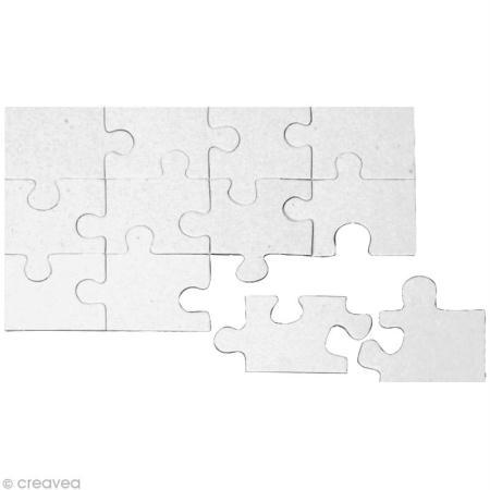 Puzzle en carton blanc à colorier 12 pièces - L'Univers de Piwi