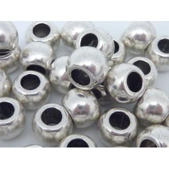 30 Perles Ronde Légèrement Ovale En Métal Argenté Pour Cordon 4,5mm