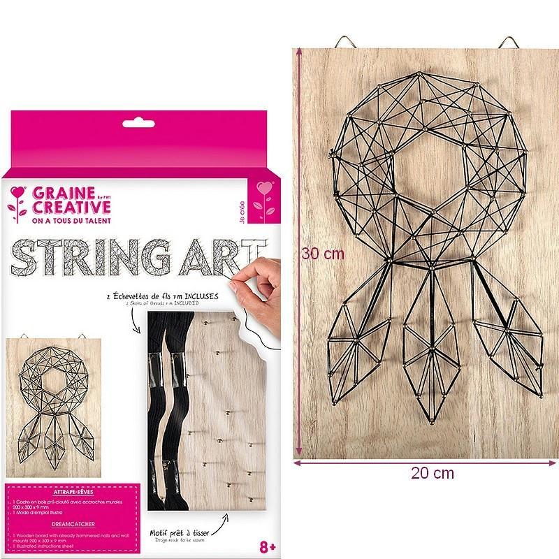 kit tableau string art attrape r ves clous et fils dim. Black Bedroom Furniture Sets. Home Design Ideas