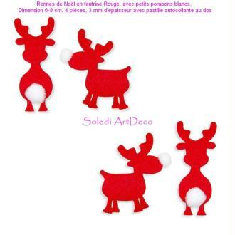 Rennes de Noël en feutrine Rouge, avec petits pompons blancs, 6-8 cm, 4 pièces pour Scra