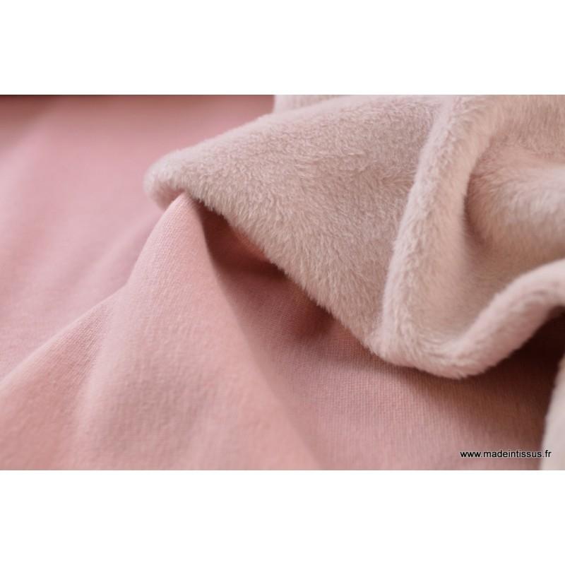 sweat envers minky rose poudr x1m tissu polyester creavea. Black Bedroom Furniture Sets. Home Design Ideas