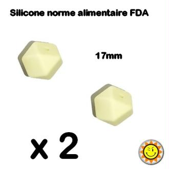 X2 Perles Silicone Hegagone 17mm Creme Normes Alimentaire Dentition