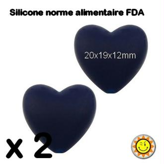 X2 Perles Silicone Coeur 20mm Bleu Marine Normes Alimentaire Dentition