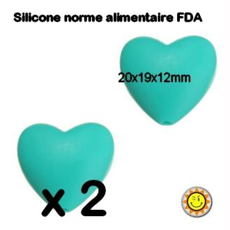 X2 Perles Silicone Coeur 20mm Turquoise Normes Alimentaire Dentition