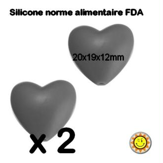 X2 Perles Silicone Coeur 20mm Gris Normes Alimentaire Dentition
