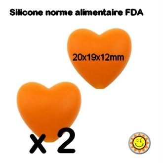 X2 Perles Silicone Coeur 20mm Orange Normes Alimentaire Dentition