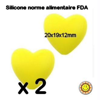 X2 Perles Silicone Coeur 20mm Jaune Normes Alimentaire Dentition