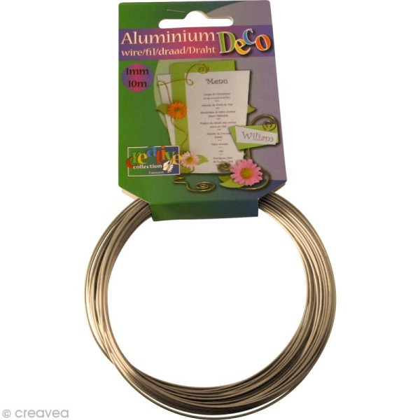 Fil aluminium 1 mm Nacre x 10 mètres - Photo n°1