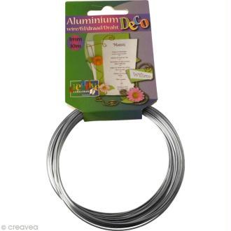 Fil aluminium 1 mm Argent x 10 mètres