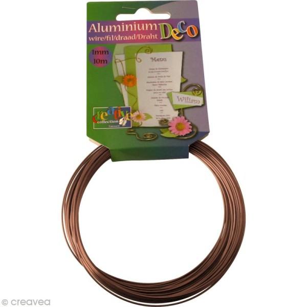 Fil aluminium 1 mm Marron brun x 10 mètres - Photo n°1