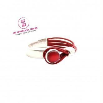 Kit bracelet demi-jonc avec cabochon cuir rond rouge