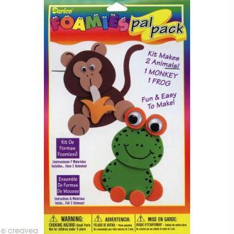 Kit Foamies - Animaux en Feuille de mousse - Grenouille et singe