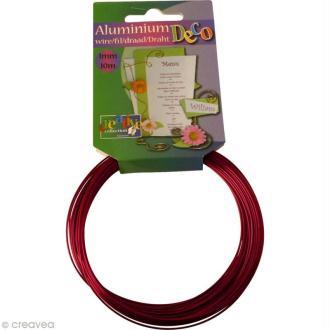Fil aluminium 1 mm Rouge x 10 mètres
