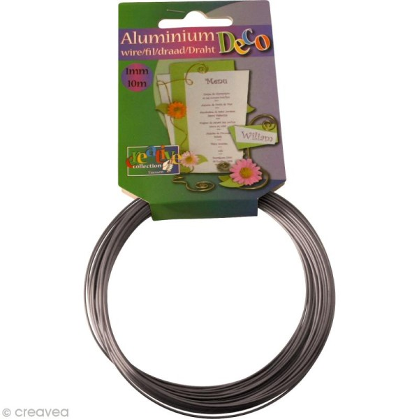 Fil aluminium 1 mm Gris anthracite x 10 mètres - Photo n°1