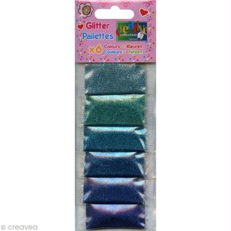 Assortiment de paillettes ultrafines x 6 - Nuances de Bleu