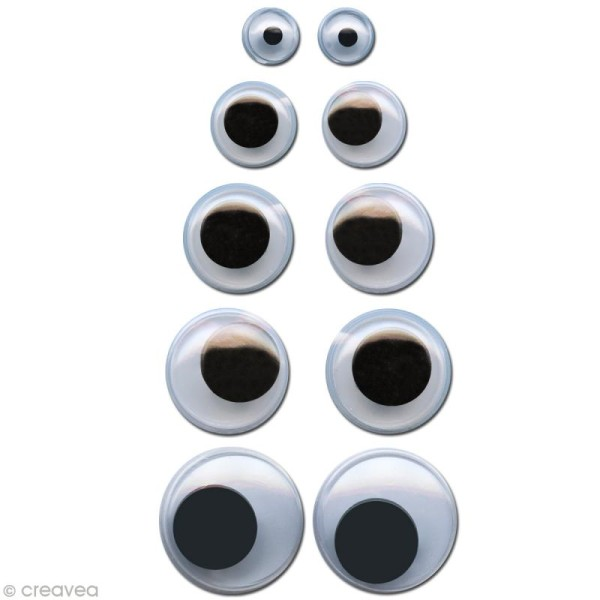 Assortiment de 200 yeux mobiles - Photo n°1