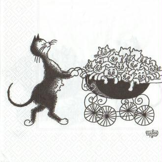 Lot de 2 Serviettes en papier motif Chat noir Famille, 33cm x 33cm