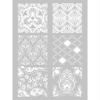 Pochoir Plastique sérigraphie, 6 formes Hindou pour Fimo, pâte polymère ou peint