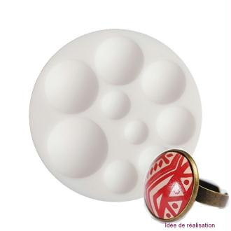 Moule en silicone 9 motifs miniatures Cabochons Ronds de 7cm extra flexible