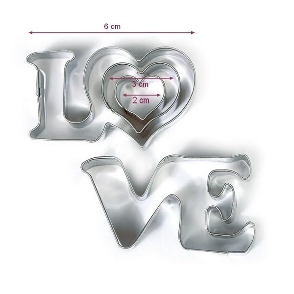 Emportes-pièces Love et 2 petits coeurs, Inox alimentaire, Diamètre 2,3,6 cm - Photo n°2