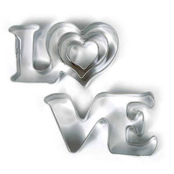 Emportes-pièces Love et 2 petits coeurs, Inox alimentaire, Diamètre 2,3,6 cm - Photo n°1