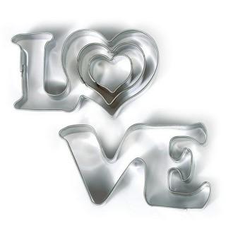 Emportes-pièces Love et 2 petits coeurs en Inox alimentaire, Diamètre  2,3,6 cm