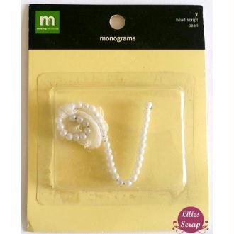 2 packs embellisements en perles Lettre V 5,5 x 5 cm Making Memories