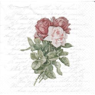 4 Serviettes en papier Roses Amour Poème Format Lunch