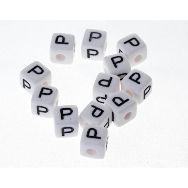 Blanc Lettre P Lot de 10 perles Perle acrylique alphabétique de 10 x 10 mm