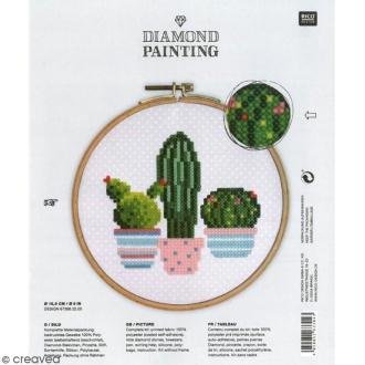 Kit broderie Diamond painting - Cactus - 15,5 cm
