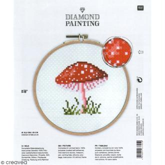 Kit broderie Diamond painting - Champignon - 15,5 cm
