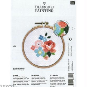 Kit broderie Diamond painting - Fleurs - 10,5 cm