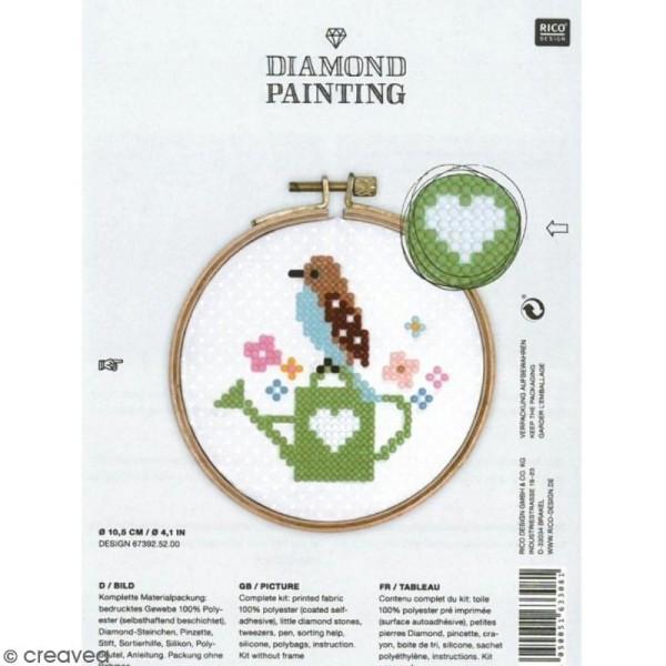 Kit broderie Diamond painting - Oiseau - 10,5 cm - Photo n°1
