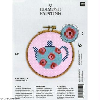 Kit broderie Diamond painting - Théière - 10,5 cm