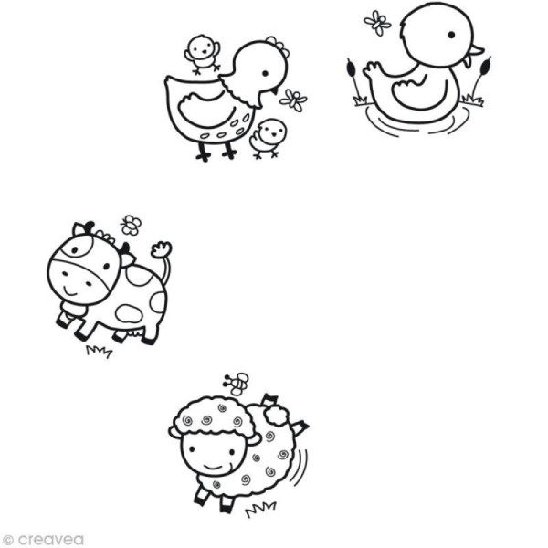 Tampons Stampo'baby Ferme - 4 pcs + 1 encreur - Photo n°2
