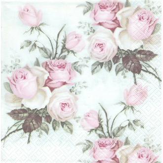 4 Serviettes en papier Roses anglaises Format Diner