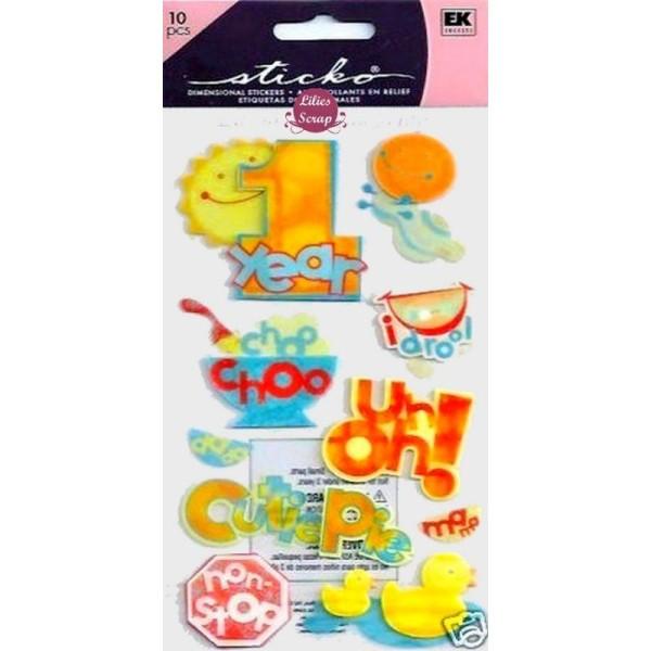 Stickers 3D 1er anniversaire de bébé 18 x10 cm Sticko scrapbooking - Photo n°1