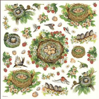 Serviette en papier de riz Oiseau Nid 50x50 cm
