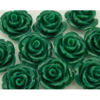 Perle Rose Ciselée Verte En Résine 15,5mm