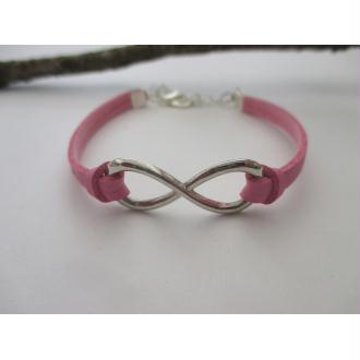 Kit bracelet suédine  faux cuir rose et lien infini argenté