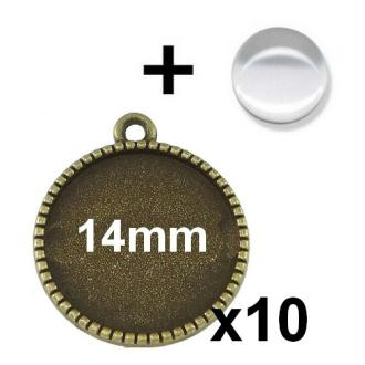 10 Supports Pendentif Bronze Avec Cabochon Verre 14mm Mod640