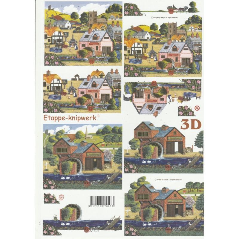 feuille 3d d couper a4 village maison carte 3d d couper creavea. Black Bedroom Furniture Sets. Home Design Ideas