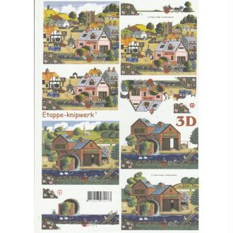 Feuille 3D à découper A4 Village Maison