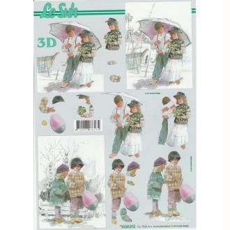 Feuille 3D à découper A4 Couple enfants